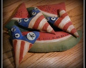 Primitive Flag Hearts and Watermelon Tucks ~~ Primitive Home Decor ~~ Primitive Americana ~~ Primitive Patriotic ~~ FAAP ~~ OFG Team