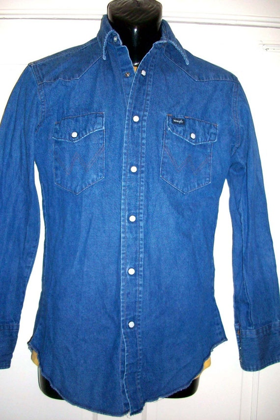 Vintage mens wrangler western denim snap button shirt for Mens shirts with snaps instead of buttons