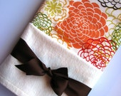 Baby Swaddle Blanket in Chocolate Brown, Orange, Green, and Red Floral