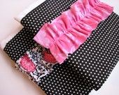 Baby Burp Cloths with Ruffle in Black, White, and Pink, Set of 2 Ruffle Baby Girl Burp Cloths in Polka Dots and Floral