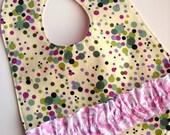 Ruffle Handmade Baby Bib in Pink and Purple Dots