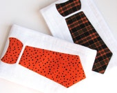 Baby Burp Cloths with Necktie in Polka Dots and Plaid, Set of 2 Halloween Baby Burp Cloths, Orange and Black