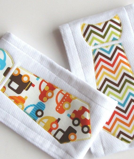Baby Burp Cloths with Necktie in Urban Zoologie, Ready Set Go, Set of 2 Baby Boy Burp Cloths, Chevron Stripes and Cars, Bright Color Zig Zag