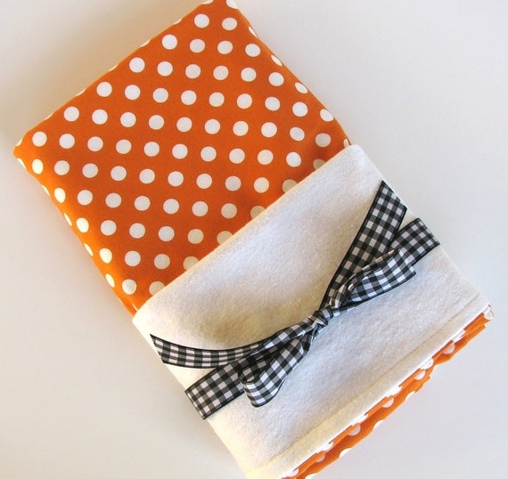 Baby Swaddle Blanket in Orange and White Polka Dots, Flannel Baby Blanket, Unisex Baby Swaddling Blanket in Creamsicle Dots