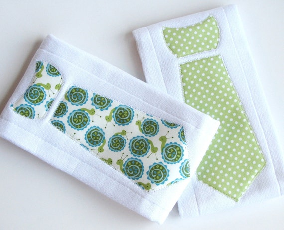Baby Burp Cloths with Necktie in Sweet Snails and Polka Dots, Set of 2 Baby Boy Burp Cloths, Blue, Green, and White
