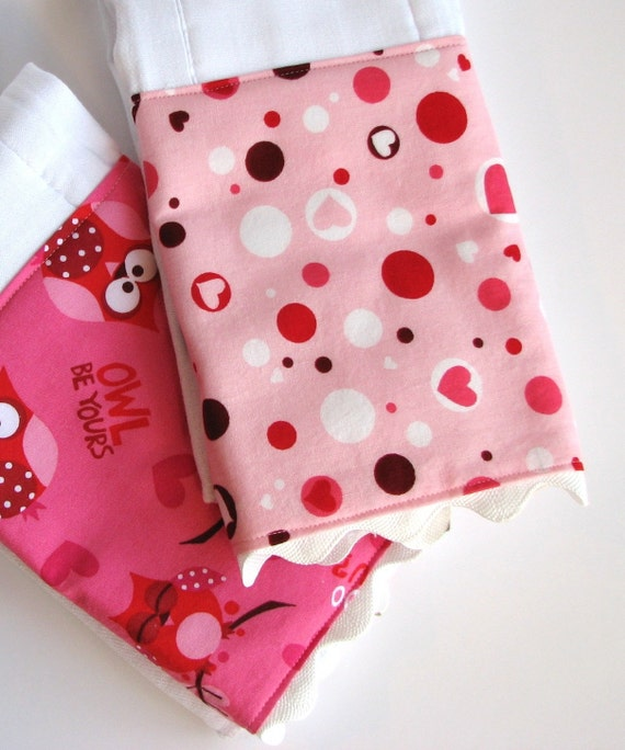 Baby Burp Cloths with Scallops in Pink and Red, Set of 2 Scalloped Edge Baby Girl Valentines Day Burp Cloths in Owls, Hearts, and Dots