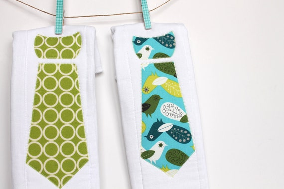 Baby Burp Cloths with Necktie in Critter Community by Suzy Ultman, Set of 2 Baby Boy Burp Cloths in Spring Birds and Chartreuse Circles