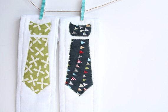 Baby Burp Cloths with Necktie in Baby Bunting and Reunion Jacks, Set of 2 Baby Boy Burp Cloths in Navy Bunting and Key Lime Jacks