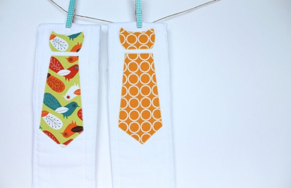 Baby Burp Cloths with Necktie in Critter Community by Suzy Ultman, Set of 2 Baby Boy Burp Cloths in Retro Birds and Marigold Circles