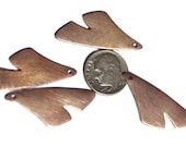 Copper Artistic Gingko Leaf with hole Leaves 35mm x 22mm Blank Cutout for Enameling Stamping Texturing