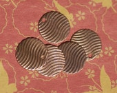 Copper Disc 20g 14mm Waves Pattern with Hole Polished Textured Blanks Shape