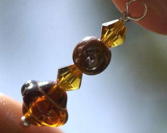 Swarovski Crystal  and Glass in Amber Handmade Wirewrapped Beaded Dangle Drop for Your Own Designs Charms Jewelry Components