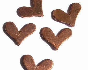 Copper Blank Deep V Heart 14mm x 11mm 20g for Enameling Stamping BlanksTexturing Soldering  6 pieces