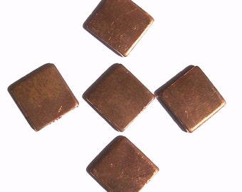 Copper Squares Blank 10mm for Enameling Stamping Texturing - 8 pieces