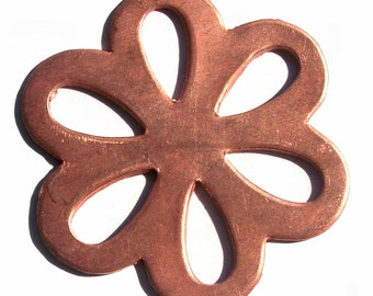 Copper Flower Blank with Teardrop Center Cutout for Enameling Stamping Texturing 3 Pieces