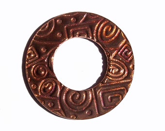 25mm Copper Blank Donut Washer for Enameling Soldering Stamping Blanks Shape - 4 Pieces