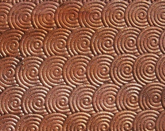 Copper Textured Metal Sheet Circle Weave Pattern 24g - 6 x 1 7/8 inches - Bracelets Pendants Metalwork