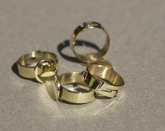 Brass Adjustable Ring with Pad for Gluing - Handmade