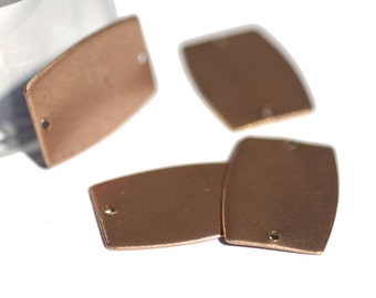 Barrel Blank  Rounded Rectangle Flat with Hole 27mm x 20mm for Enameling Stamping Texturing Blanks - 4 pieces