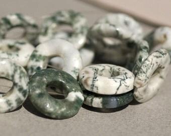 Grass Jasper Donut Gemstone Bead Strand - 17 Beads