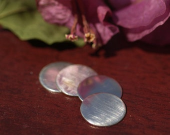 Sterling Silver 24g 14mm Disc Shapes - Round Metal Blanks Shape Form - 925 - 4 pieces