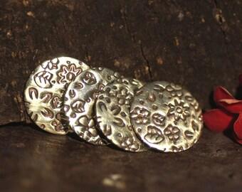 Bronze 15mm Disc Blank Meadow of Flowers Pattern - Textured Blanks Shape, Enameling Blank - 6 Pieces