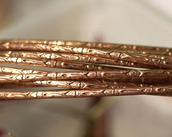 Copper Ring Stock Shank 2.2mm Tulips Textured Metal Wire - Rings Bracelets Pendants Metalwork