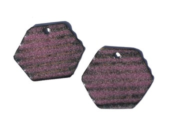 Vitreous Enameled Transparent Pink Hexagon Pair of  Corrugated Copper Enameled Pieces for Earrings or Pendants