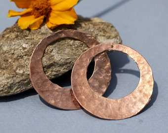 Handmade Copper Hammered Blanks Hoops with Hole 40mm 26G for Earrings or Pendant Offset Circle for Enameling Stamping Texturing - 2 Pieces