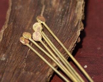 Hammered Heads Handmade Brass Ball Headpins 20 gauge - 2 1/2 inch long - 65mm - 12 pieces