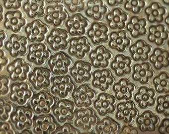Brass Texture Metal Sheet Daisys Pattern 22g - 3 3/4 x 2 1/2 inches - Bracelets Pendants Metalwork