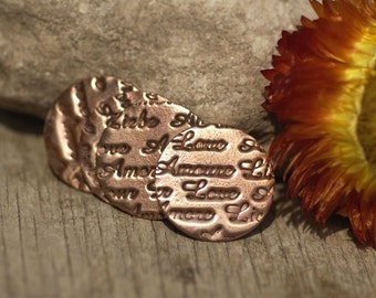 Disc Copper Blank 18mm 24g LOVE Texture - Enameling Texturing Soldering Blanks - 4 Pieces