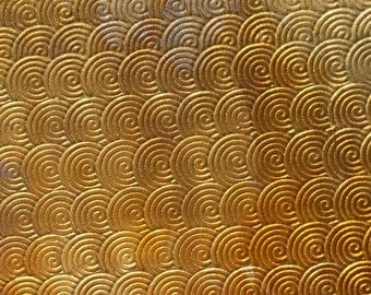 Brass Textured Metal Sheet Circle Weave Pattern 24g - 6 1/8 x 1 7/8 inches - Bracelets Pendants Metalwork