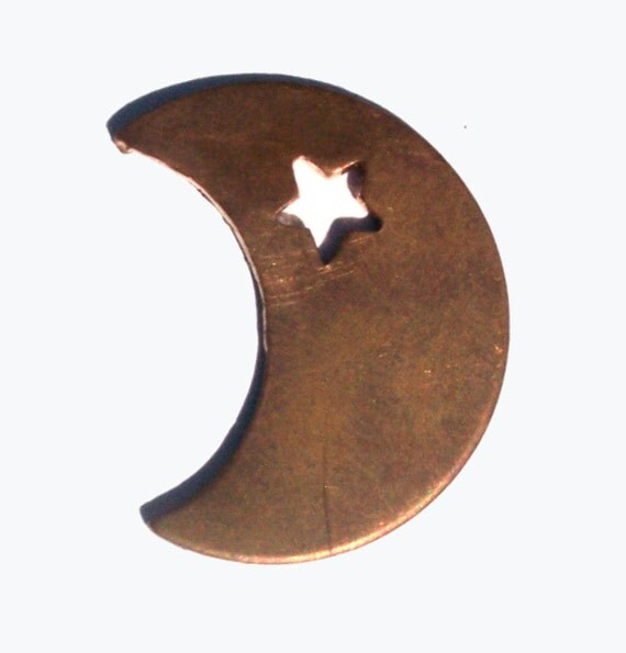 Copper or Brass or Bronze or Nickel Silver Moon with Star 20g Blanks Cutout for Enameling Stamping Texturing 3/4 inch (DCH)