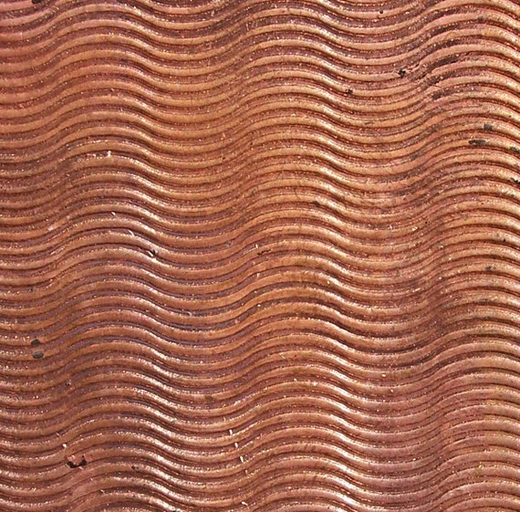 Copper Textured Metal Sheet Waves Pattern 20g - 6  1/8 x 2 1/8 inches - Bracelets Pendants Metalwork