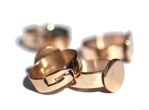 Copper Adjustable Ring with Pad 11mm for Gluing - Handmade