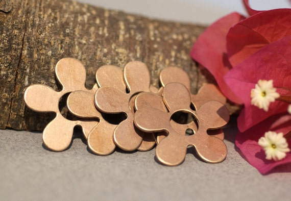 Copper Flower 26mm 20g with Center Hole Blank Cutout for Enameling Stamping Texturing Soldering Blanks Jewelry Making