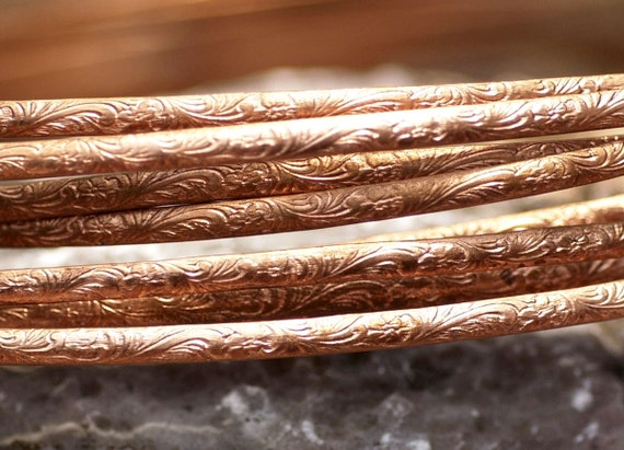 Copper Ring Stock Shank 3.4mm Art Deco Textured Metal Wire - Rings Bracelets Pendants Metalwork