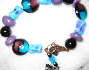 Purple, Blue and Black Bracelet with charm dangle