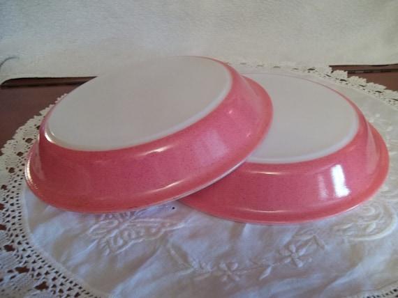 Mid Century Pink Speckled Pyrex Pie Plate, Desert Dawn Pattern