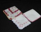 Vintage Ladies Handkerchiefs - Mama May's Frantic Concerns - Three Vintage Handkerchiefs