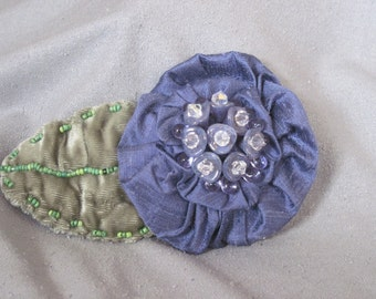 Handmade Fabric Brooch - Blue/violet dupioni silk with beaded accents and Vintage Style