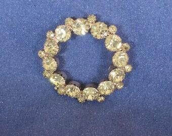 Vintage Rhinestone Brooch - Circle Pin with  sparkling   Yellow Citrine stones