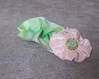 Handmade Flower Brooch - blush pink beaded posy