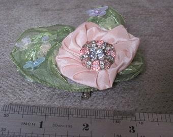 Handmade Fabric Brooch - Beaded Pink Flower with embellished leaf