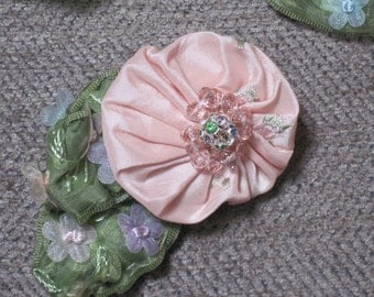 Handmade Fabric Brooch - Pink flower with rhinestones, crystals