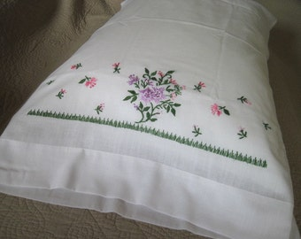 Vintage White Cotton Pillowcase with Expert Embroidery