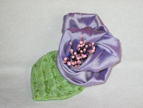 Handmade Brooch - Lavender Rolled Rosebud - Fresh as Spring - beaded decorative pin