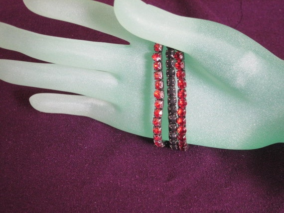 Vintage Rhinestone Bracelets - Trio in Black, Red and Pink AB coated Rhinestones