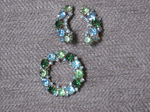 Vintage Rhinestone Brooch and Earrings, Karu Arke, greens and blues